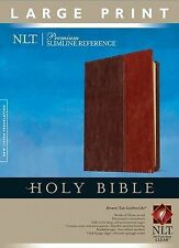 NLT Premium Slimline Reference Bible (Tutone Brown/Tan, Indexed, Large Print)