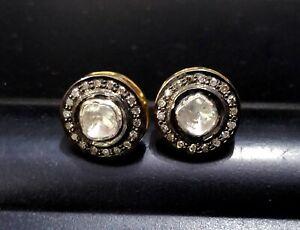 Rose Cut Genuine Diamond Antique Stud Earrings 925 Sterling Silver Vintage Ears