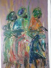 African olio/acrilico dipinto originale firmato Donna Tribal Folk Art
