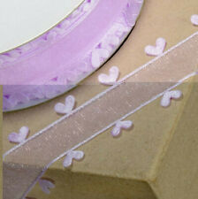 RIBBON LILAC ORGANZA WITH HEART EDGING 25mm x 25M CRAFTS CAKE WEDDING FLOWERS