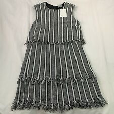 Asos Textured Pencil Mini Dress UK 10 Stripes Tassel Black & White Back Zip