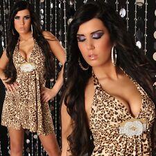 Sexy ABITO LEOPARD foderato taglia unica 38-40-42-44 lamé oro strass GLAMOUR