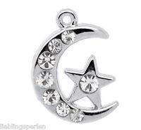 30 Silbe Strass Mond&Stern Charm Anhänger Perlen Bead für Halskette Armband L/P