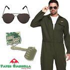 Mens AVIATOR Fancy Dress + GLASSES + DOG TAG Uniform Pilot Stag Costume 80s