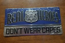 Real Heroes Don't Wear Capes Police Metal Sign Wall Embossed Law Enforcement
