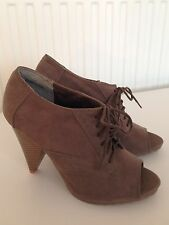 New George Grey/Mink faux suede lace up, wedge boots with Peep Toe - size 5