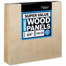 Artlicious 12x12 Super Value Wood Panel Boards for Artist Painting 4 Pack - 3.