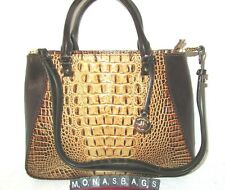 Brahmin Small Irene Toasted & Brown Embossed Leather Satchel Handbag NWT $335