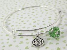 Celtic Knot Adjustable Silverplate Bangle Bracelet Green Glass Charm
