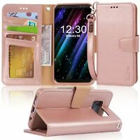 For Galaxy S8 Case Wallet Wrist Strap Flip Folio Kickstand PU Leather Credit