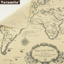 Teramila Map of the Word Cotton Linen Fabric Tablecloth Pillow Cushion 50x150cm
