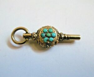 VICTORIAN NOVELTY 9CT GOLD & TURQUOISE FOB POCKET WATCH KEY