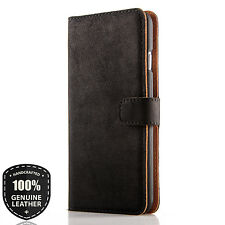 Premium Echtes Ledertasche Schutzhülle Wallet Flip Case Vintage 3C (Schwarz)