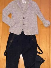 Zara Kids Boy's Set Outfit Dressy Sweater Plaid Pants Suspenders 9-10