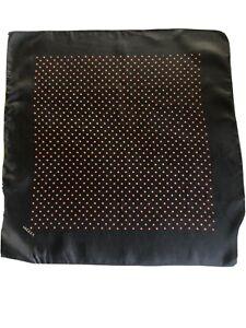 Vintage Jaeger Men's Black Silk Spotty Handkerchief