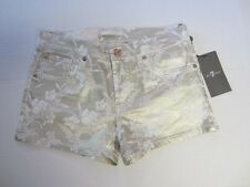 7 For All Mankind Shorts 14 Gold Metallic Floral Girl NEW