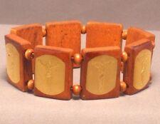Christian Bracelet CRUCIFIXION GOLD FOIL IMAGE Wood Bead Stretch LATTE BROWN !!!
