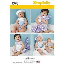 Simplicity Patron couture bébé robe d'été & culotte barboteuses Bonnet sandales