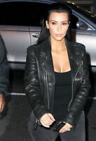 Kim Kardashian Womens Black Biker Motorcycle Slim Fit Leather Jacket - FL418