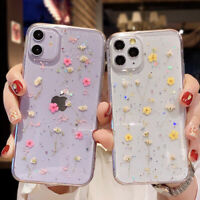 Glitter Real Dried Flower Clear Case Cover For iPhone 11 12 Pro Max SE XS 7 8 XR