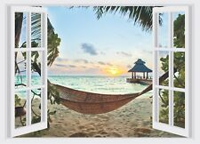 Tropical Beach Hammock Window View Color Wall Sticker Wall Mural Print