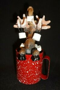 """4"""" Hot Chocolate w/ Marshmallows Moose Ornament In Red Speckled Tin Cup"""