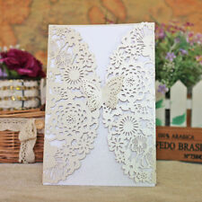 White Wedding Invitation Card Butterfly Laser Cut Romantic Heart Decor