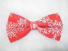 Christmas Snowflake Bow tie / White Snowflakes on Red / Pre-tied Bow tie