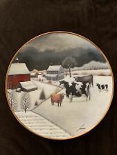 Collector Plate Cows in Winter Franklin Mint American Folk Art Collection