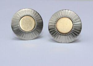 Solid 925 Sterling Silver Mid Century Modernist Men's Cufflinks SWANK Crown Mark