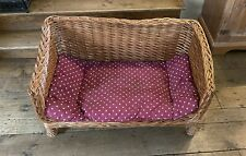 Large Raised Wicker Dogs bed With Red Removable Washable Bed 82cm X 51cm