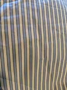 Lauren Ralph Lauren Blue Ivory Ticking Striped Queen Bedskirt - Cottogaecore