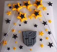 Transformers EDIBLE Cake Toppers AUTOBOT LOGO STARS ON WIRES CUPCAKE Decorations