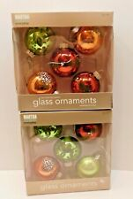 "2 Boxes Martha Stewart Living Woodland Glass 2"" Ornaments 10 Total"