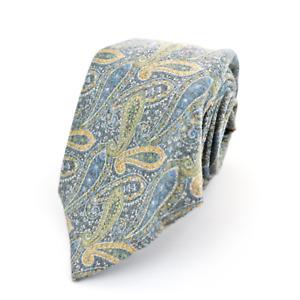 """New KITON Napoli Pale Blue Yellow Paisley 100% Wool Neck Tie 3.25"""""""