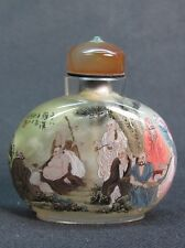 Chinese Eighteen Arhat Inside Hand Painted Glass Snuff Bottle:Gift Box