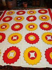 Brilliant Cheerful Vintage Applique Large Quilt Top