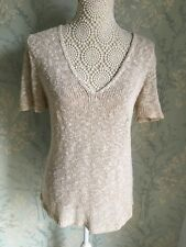 Per Una Womens Beige Made In Italy Chunky Short Sleeve Jumper Size 16