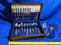 Heirloom Silver Plate Flatware SET Lot 50pc 1920's w/ wood box Antique VTG