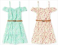 NWT The Childrens Place Girls Floral Blue Pink Woven Off Shoulder Dress