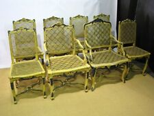 Eight Carved, Caned & Painted Provincial-Style Dining Chairs Stamped AGR Paris