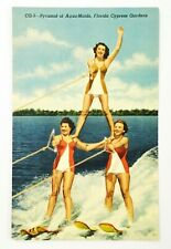 1949 Pyramid of Aqua Maids Cypress Gardens FL Postcard Water Skiing Women Lake