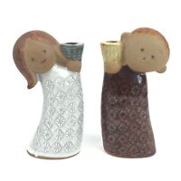 Pair Vintage UCTCI Mid Century Stoneware Boy & Girl Figural Candle Holders Rare