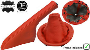 RED REAL LEATHER GEAR + HANDBRAKE BOOT+ PLASTIC FRAME FOR FIAT 500 2007-2015