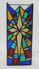 """Stained Glass Multicolor Cross Pillar Candle 8"""" Cover Iridescent Side Walls"""