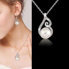 Wedding Bridal Crystal Rhinestone Pearl Drop Necklace Earrings Jewelry Set UK