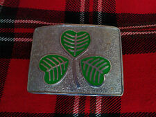 TC Kilt Belt Buckle Irish Shamrock Green Enameled Chrome Finish/Shamrock Buckle