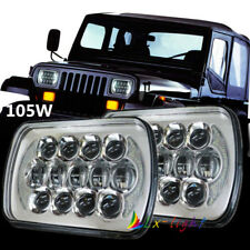 "5X7"" 7x6 inch 105W Rectangle LED Headlight DRL Headlamp For GM Ford Van Jeep XJ"