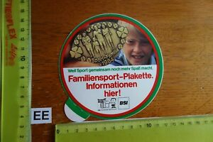 Alter Aufkleber Sport Familiensport-Plakette TRIMM DICH DSB BSI