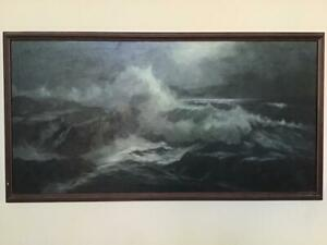 Original Large Vintage Oil on Canvas Painting Ocean Seascape Paul W. Lambert
